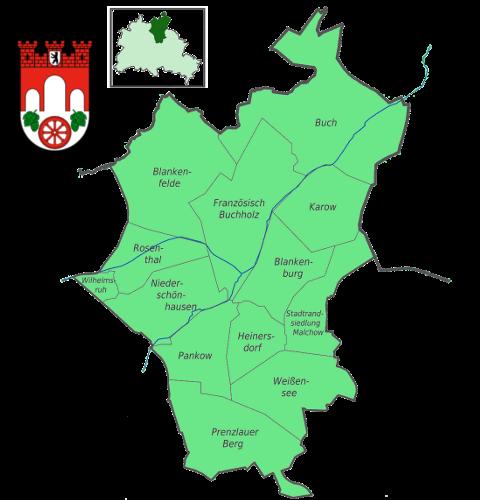 Karte von Pankow mit seinen 13 Ortsteilen