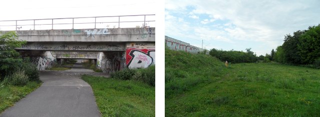 Links: Bahnunterführung Richtung Wedding, Rechts: Grünfläche - Blick in Richtung Pankow/Maximilianstraße
