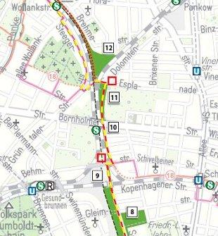 Kartenausschnitt: Grünes Band Berlin am Nordkreuz