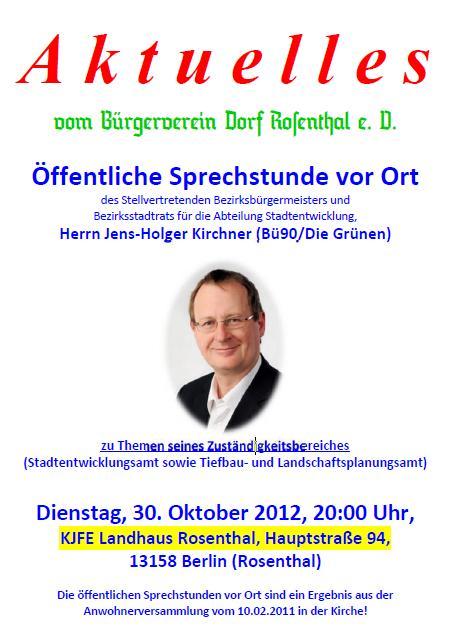 Bürgersprechstunde am 30.10.2012 in Pankow-Rosenthal