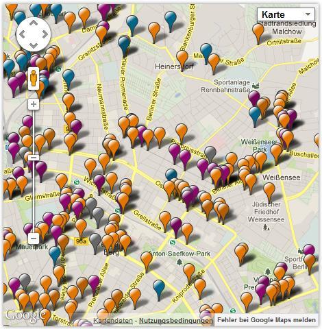 Leises Berlin: Auszug aus der Karte der Lärmbeschwerden