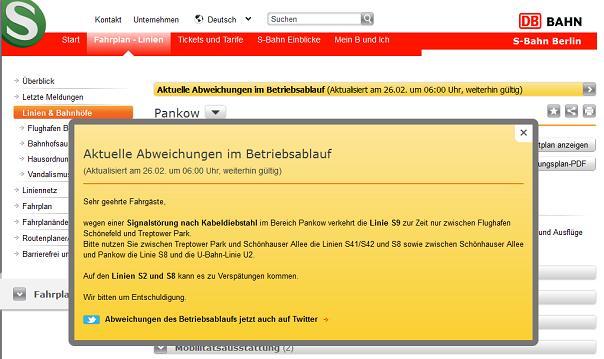 S-Bahn Meldung über Kabeldiebstahl und Signalstörung am 26.02.2013 - 6:00h