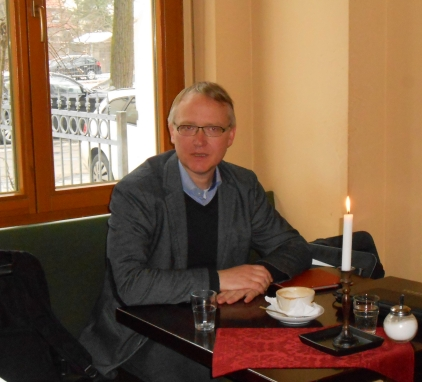 Klaus Mindrup beim Interview am 18.3.2013 im Café Nord