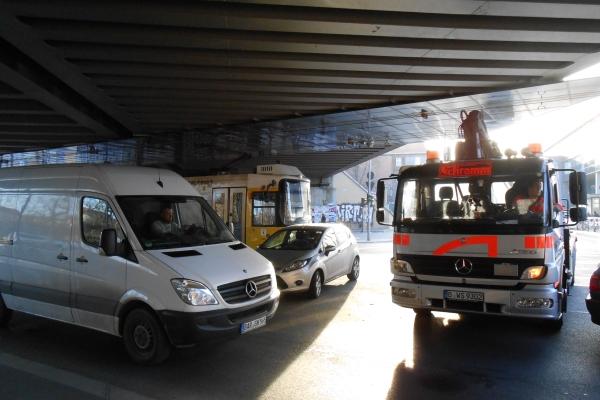 Verkehrs-Stau am 6.3.2013 an der Pankower Brücke