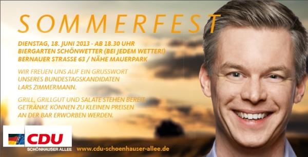 Sommerfest der CDU Schönhauser Allee - 18. Juni 2013 ab 18:30 Uhr