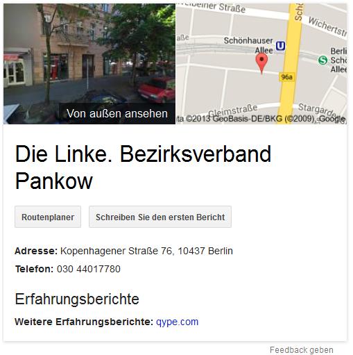 Die Linke - Bezirksverband Pankow - Google Places Eintrag