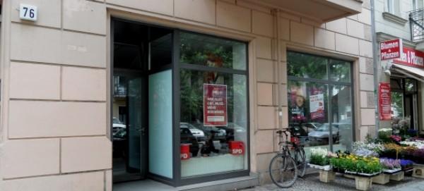 SPD Wahlkampf-Büro in der Kopenhagener Str. 76 in Prenzlauer Berg