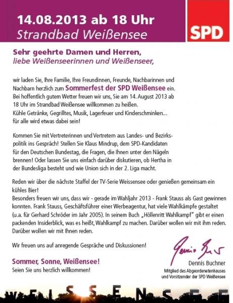 Sommerfest der SPD Weißensee am 14.8.2013 - 18 Uhr