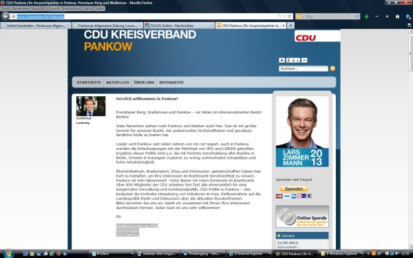 Verkleinerter Screenshot der Startseite der CDU-Pankow vom 21.9.2013