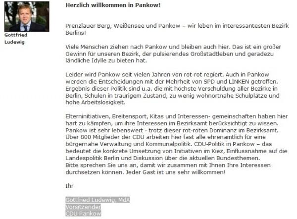 Screenshot: CDU Pankow: Grußwort vom 21.9.2013