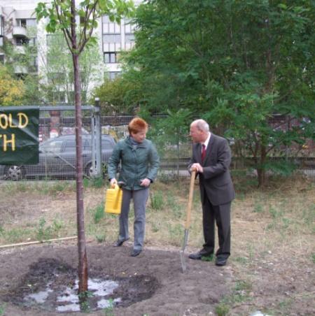 Baumpaten bei der Arbeit: Petra Pau und Gregor Gysi im Mauerpark am 2.9.2013