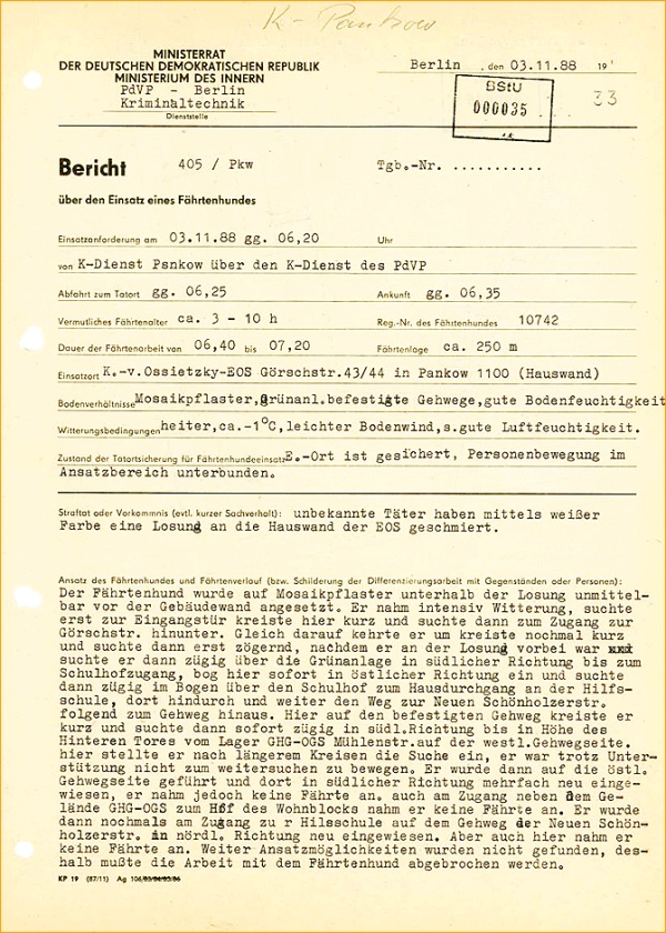 Bericht über den Einsatz eines Fährtenhundes am Gebäude der Carl-von-Ossietzky-Schule vom 3.11.1988