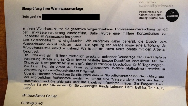 """GESOBAU:Schreiben """"Überprüfung ihrer Warmwasseranlage vom 20.11.2013"""