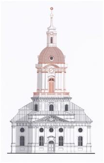Schlosskirche Buch: Rekonstruktionszeichnung - Architekturbüro Redlich