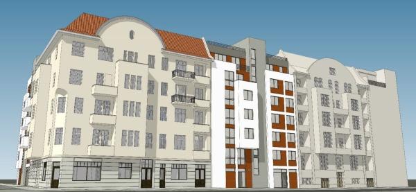 Selbstbau e.G.: Ansicht John-Schehr-Str. 34-36 - Simulation: SKP-Architekten