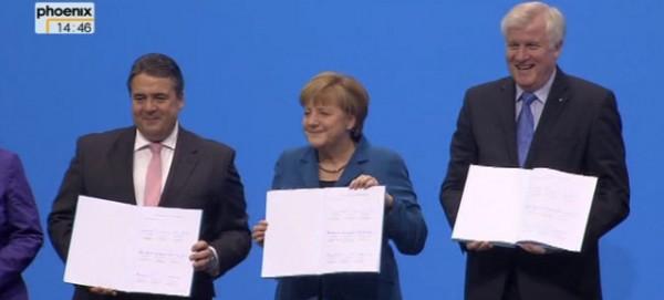 Unterzeichnung des Koalitionsvertrag zwischen CDU und SPD