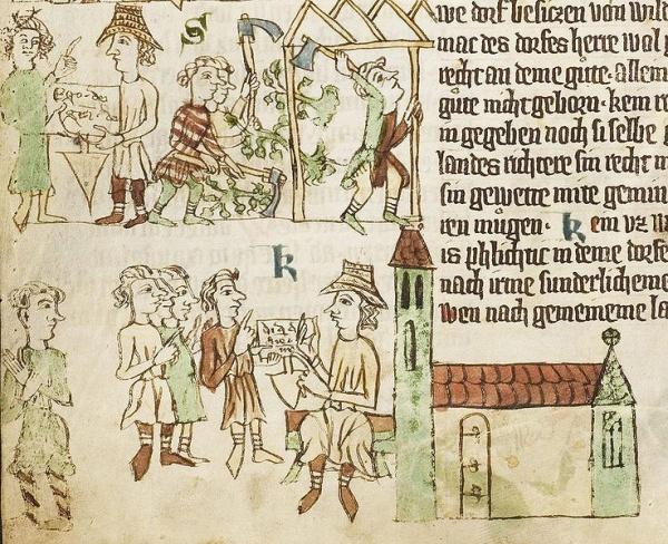 Szene aus dem Heidelberger Sachsenspiegel: dt. Ostsiedlung um 1300