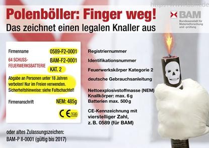 Polenböller: Finger weg!  - Grafik: Bundesanstalt für Materialprüfung - www.bam.de