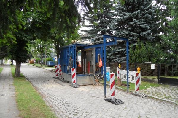Gerätestation der Rohrvortriebsbaustelle