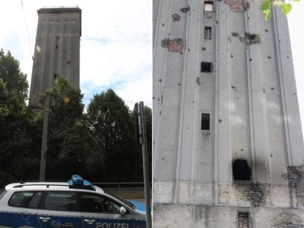 Wasserturm Heinersdorf nach dem Brand