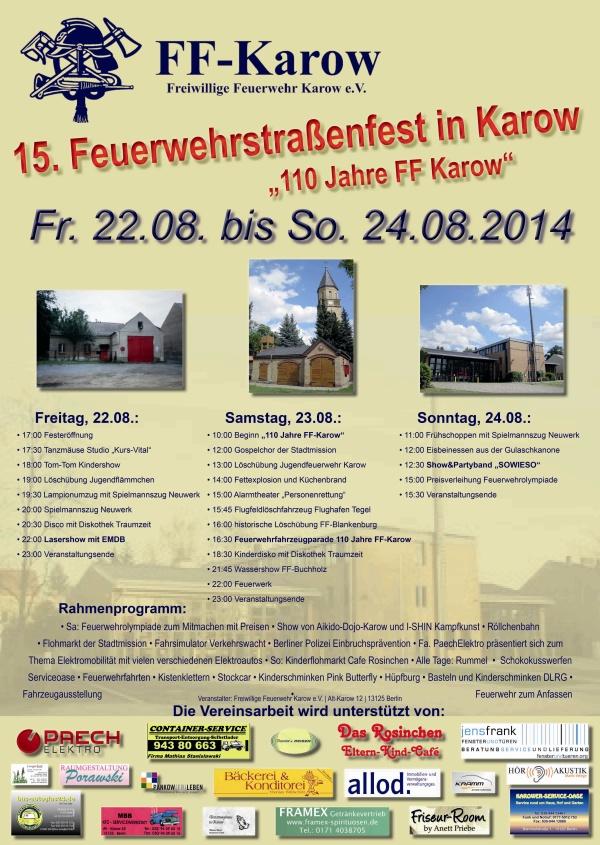 FFW-Karow: 15.Feuerwehrstraßenfest