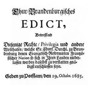 Edikt von Potsdam 29.Oktober 1685