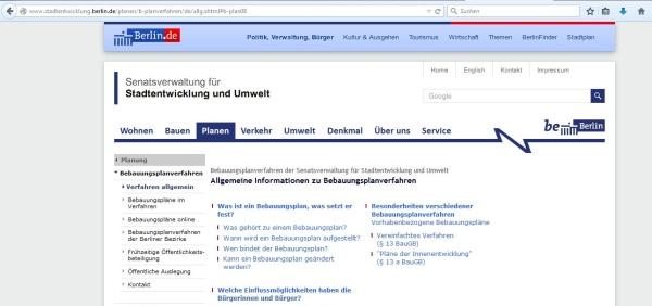 Stadtportal www.berlin.de mit Desinformation