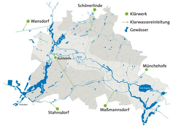 Sechs Klärwerke für die Abwasserentsorgung Berlins