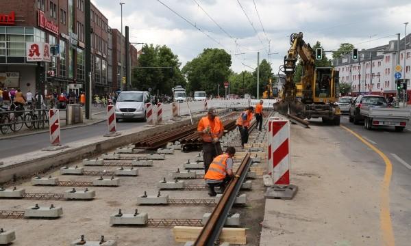 Gleisbauarbeiten in der Breite Straße