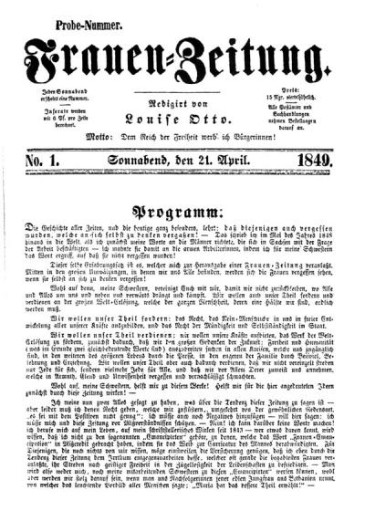 Frauen-Zeitung Probe-Nr. 21.4.1849