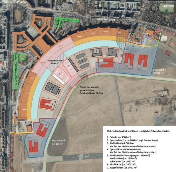 Entwurf der Gesamtkonzeption Notunterkunft ehemaliger Flughafen Tempelhof (Var 1) - Visualisierung SenStadtUm