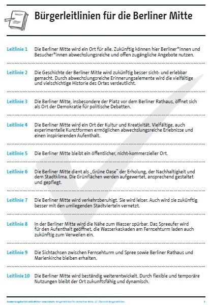 Bürgerleitlinien für die Berliner Mitte