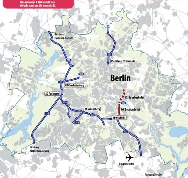 Autobahn-Netz Berlin mit  A100