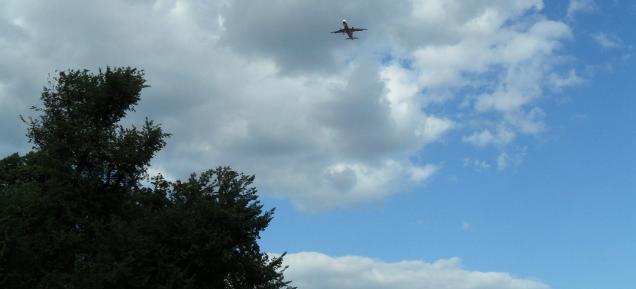 Flugzeug über Pankow