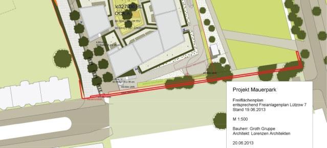 Projekt Mauerpark - Freiflächenplan