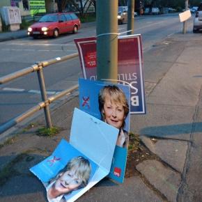 Abgerissene Wahlplakate im Europawahlkampf