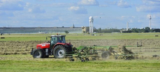 Beginn der Mahd auf dem Tempelhofer Feld