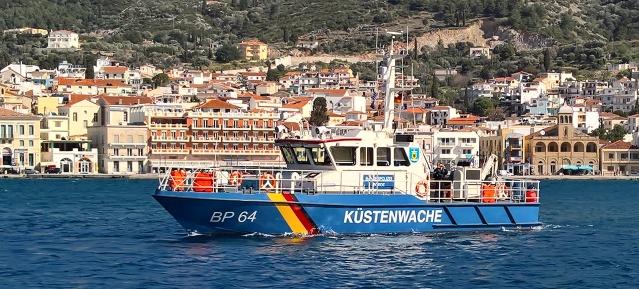 Streifenboot der Bundespolizei vor Samos