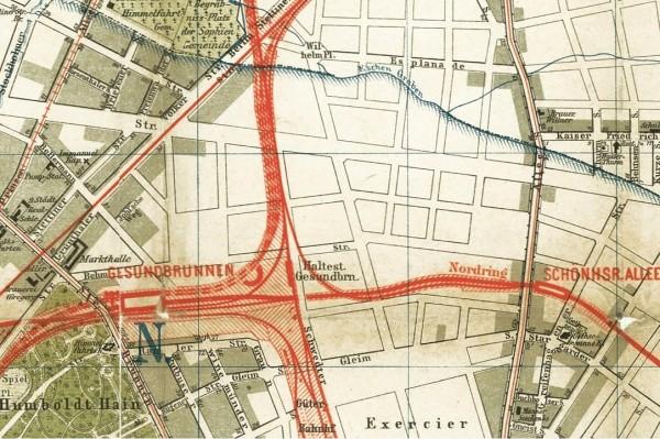 Berlin 1896: Gesundbrunnen und Prenzlauer Berg – Auszug aus: Straube Monumental Plan der Reichshauptstadt Berlin 1896 – gemeinfei