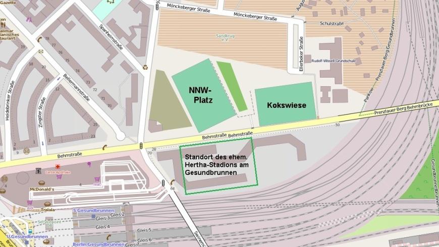 Standort des ehemaligen Hertha-Stadions
