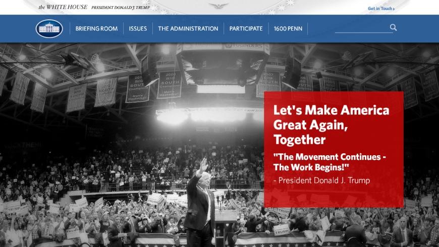 White House Website: Screenshot 21.1.2017