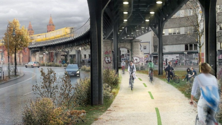 Radbahn unter der Hochbahn der U1