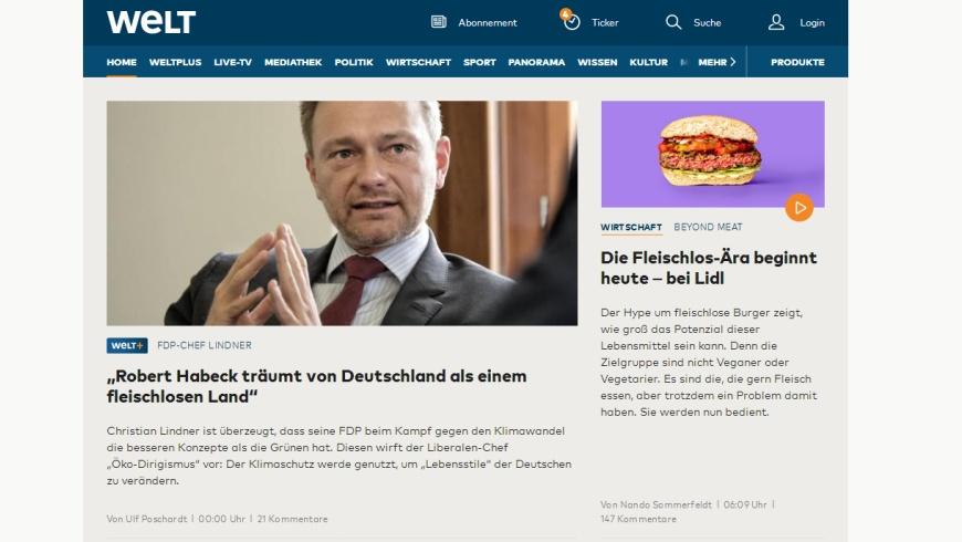 Christian Lindner verpasst den Start der Fleischlos-Ära