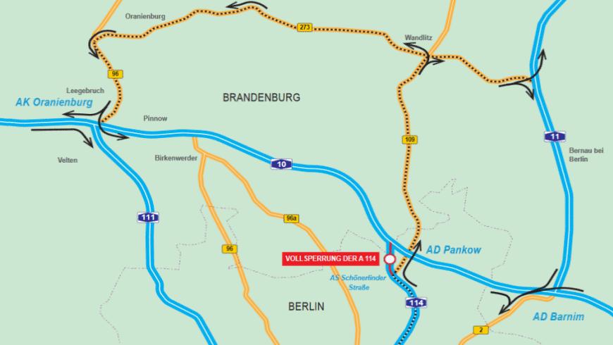 Umleitungsskizze zur Vollsperrung A114