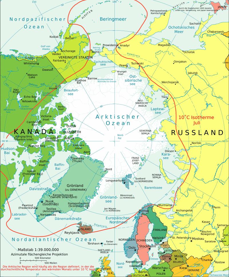 Politische Karte der Arktis mit 10°C Juli-Isotherme - Karte: Sanao, derivatet from  a template from the CIA World Factbook