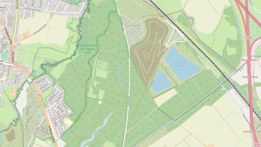 Deponie Arkenberge mit Biotop-Teich und Arkenberger Baggersee - Grafik: Openstreetmap.org