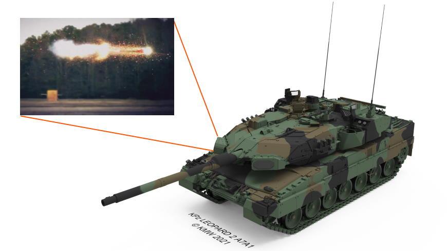 Kampfpanzer Leopard 2 A7A1 mit Schutzsystem RAFAEL Trophy - Foto: KMWYouTube