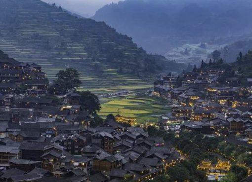 Blaues Dorf Qianho Miao in Xijiang